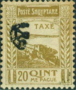 Colnect-1546-988-Fortress-at-Shkod%C3%ABr-with-%E2%80%ADPost-Horn-Overprinted-in-Black.jpg