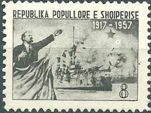 Colnect-1378-126-Lenin-Flags-and-Cruiser--quot-Aurora-quot-.jpg