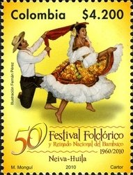 Colnect-1701-514-50-years-of-folk-festival-and-national-reign-of-Bambuco.jpg