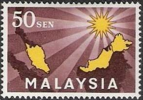 Colnect-1110-091-Map-of-Malaysia--amp--star-with-14-beams-symbolising-union.jpg