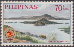 Colnect-1451-063-Volcano-in-Lake-Taal-and-Malaria-Eradication-Emblem.jpg