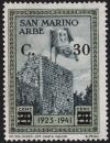 Colnect-5692-567-Flags-of-San-Marino-and-Italy-on-Arbe-tower---surcharged.jpg