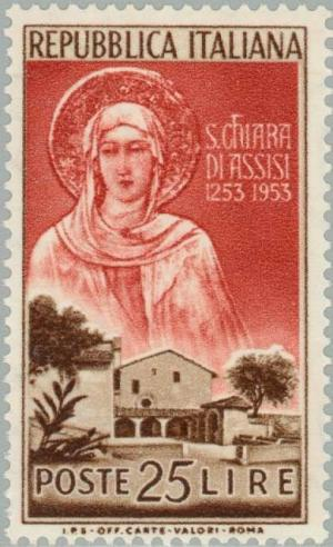Colnect-169-126-Portrait-of-Clare-and-convent-of-San-Damiano-Assisi.jpg