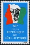 Colnect-2311-914-Elephant-in-front-of-map-of-Ivory-Coast.jpg