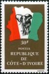 Colnect-3704-178-Elephant-in-front-of-map-of-Ivory-Coast.jpg
