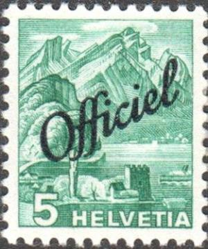 Colnect-3907-577-Pilatus-Mountain-view-from-Stansstad-overprinted--Officiel-.jpg