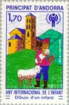 Colnect-141-962-Child-with-lamb-in-front-of-St-Joan-de-Caselles.jpg