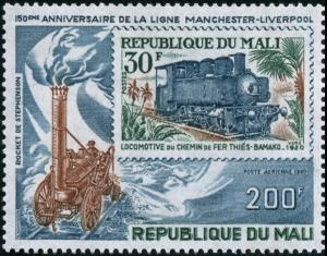 Colnect-2000-335-Locomotive--%E2%80%9ERocket%E2%80%9C-and-Mali-Railway-stamp.jpg