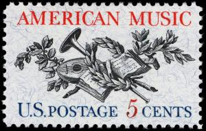 Colnect-3684-541-American-Music---Lute-Horn-Laurel-Oak-and-Music-Score.jpg
