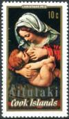 Colnect-3150-572-Madonna-of-the-Green-Cushion-by-Andrea-Solari-optd-Aitutaki.jpg