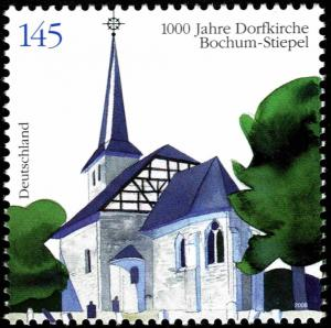 Colnect-5196-267-To-1000-years-of-village-church-of-Bochum-Stiepel.jpg