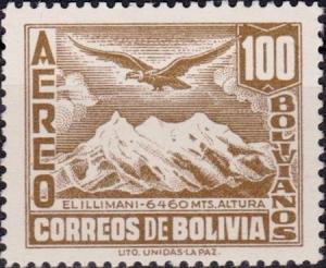 Colnect-2620-897-Mt-Illimani-and-Condor-Vultur-gryphus.jpg