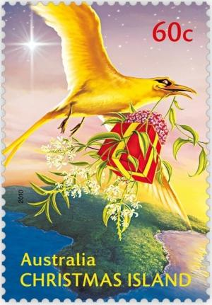 Colnect-667-283-Golden-Bosunbird-delivering-it-s-Christmas-Gift.jpg