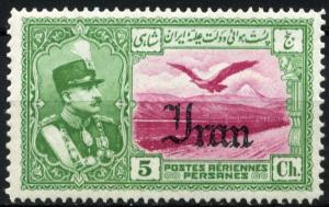 Colnect-1784-648-Rez%C4%81-Sh%C4%81h-Pahlavi-eagle-in-front-of-Alborz-mountains.jpg