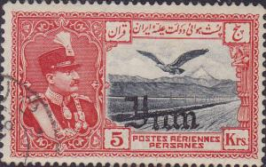 Colnect-2026-683-Rez%C4%81-Sh%C4%81h-Pahlavi-eagle-in-front-of-Alborz-mountains.jpg