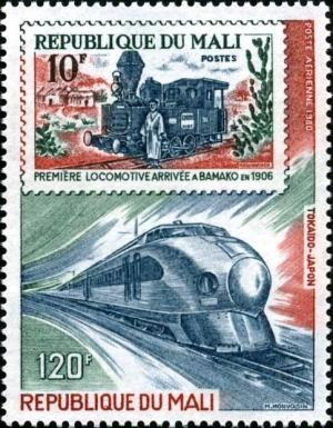 Colnect-2503-889-T%C5%8Dkaid%C5%8D-Shinkansen-Train-Japan-and-Mali-Stamp-of-1972.jpg